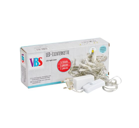 VBS 5 LED-Lichterketten, 10er Kreisschaltung, transparent
